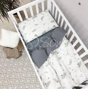 Детское постельное белье в кроватку Маленькая Соня Baby Mix Облака серые с месяцем Белый/Серый 0391487