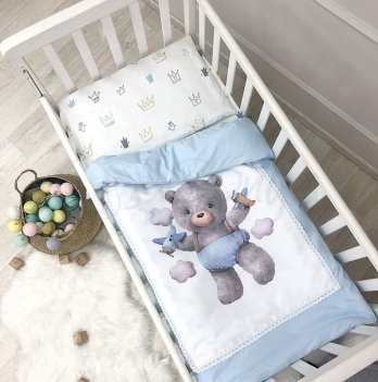 Комплект постельного белья Маленькая Соня Kids toys Мишка Голубой 0369203 3 предмета