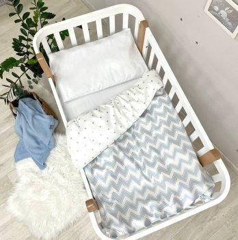 Детское постельное белье в кроватку Маленькая Соня Shine голубой зигзаг Голубой 034707
