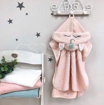 Детское полотенце пончо с капюшоном Маленькая Соня Единорог Розовый 10000150