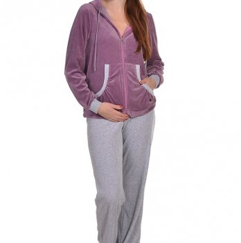 Спортивный костюм с капюшоном MammaLux для беременных и кормящих мам велюр фиолетовый 1001