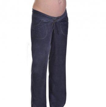 Штаны MammaLux для беременных и кормящих мам велюр темно-серые 1002
