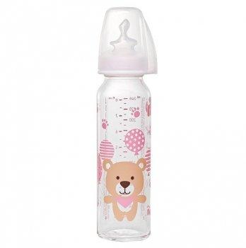 Стеклянная бутылочка для девочки NIP, соска ортодонтическая, антиколиковая, силикон (от 0 до 6м.), 250мл.,