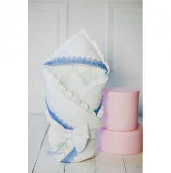 Демисезонный конверт-одеяло для мальчика Flavien 1006/01 белый с голубым