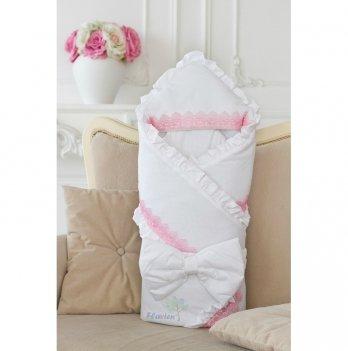 Зимний конверт-одеяло для девочки Flavien 1006/02/у белый с розовым кружевом