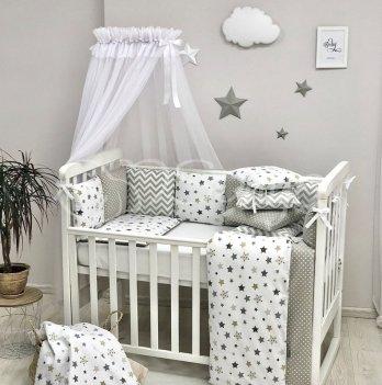 Комплект постельного белья Маленькая Соня Baby Design Stars Серый 0120228 7 предметов