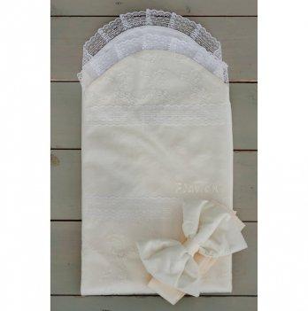 Летний конверт-простынка для новорожденного Flavien 1027/02 молочный