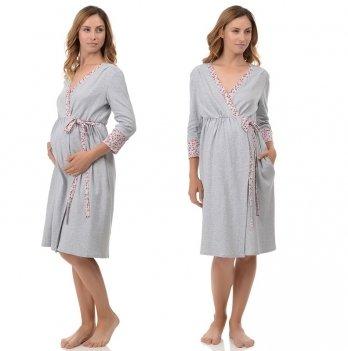 Халат для беременных и кормящих MammaLux 905 серый с красной отделкой