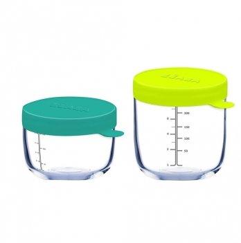 Набор из 2-х контейнеров из стекла Beaba (150 мл + 250 мл) неон/синий