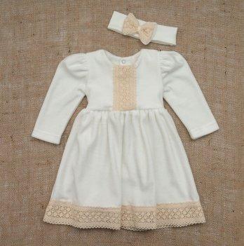 Платье Бетис Аріна-2 с повязкой велюр Молочный 27682953