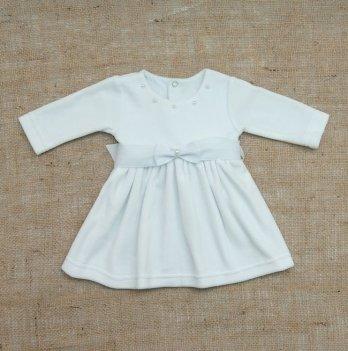 Платье Бетис Бусинка велюр Белый 27076741 1,5-2 года