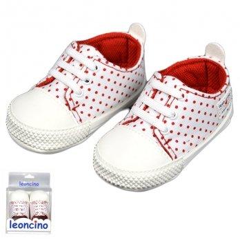Пинетки для малыша, бело-красные, возраст от 5 до 12 месяцев, Leoncino