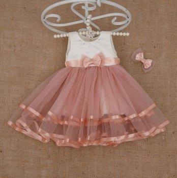 Платье Бетис Аленка с заколкой атлас/фатин Розовый 27077398 1,5-8 лет