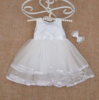 Платье Бетис Аленка с заколкой атлас/фатин Белый 27077376 1,5-8 лет