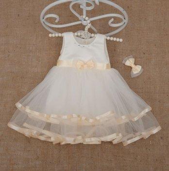 Платье Бетис Аленка с заколкой атлас/фатин Молочный 27077387 1,5-8 лет