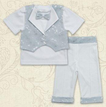 Костюм Маленький Принц-1, короткий рукав, интерлок/жаккард Бетис, серый
