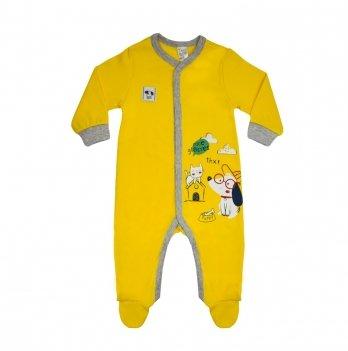 Комбинезон для мальчика интерлок Smil Кто главный Желтый 108479 1-2 года