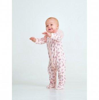 Комбинезон для девочки интерлок Smil Маленькая балерина Розовый с принтом 108485 1-1,5 лет