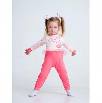 Комбинезон для девочки интерлок Smil Маленькая балерина Розовый 108487 2-3 года