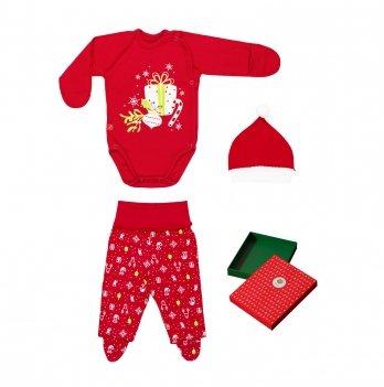Комплект детский интерлок Smil Рождественские истории 2019 Красный 109973 3 пр.