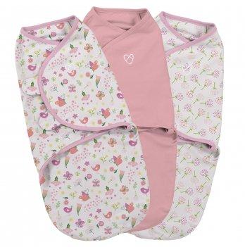 Набор пеленок коконов на липучках SwaddleMe Original Secret Garden Розовый 55966 3 шт