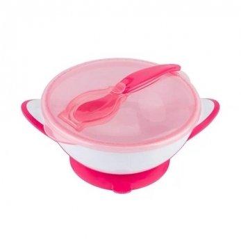 Детская тарелка на присоске с ложкой BabyOno Розовый 1063/03