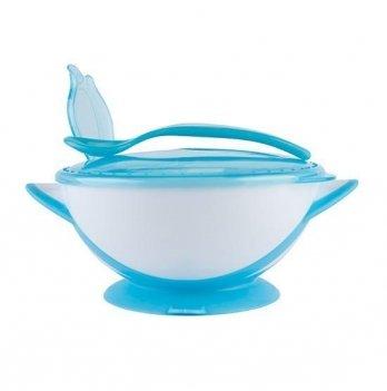 Детская тарелка на присоске с ложкой BabyOno Голубой 1063/01