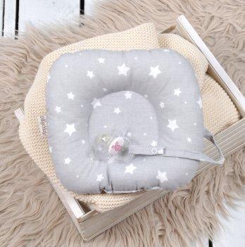 Подушка с держателем для пустышки Magbaby Белые звезды на сером 130281