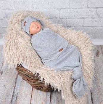 Пеленка кокон на липучках с шапочкой Magbaby Каспер Серый меланж Безразмерная