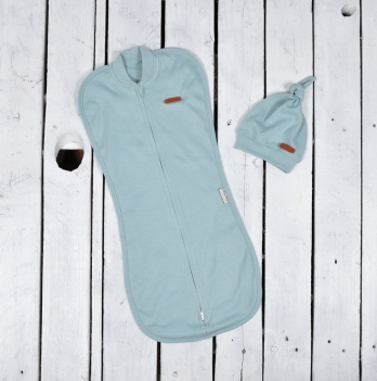 Пеленка кокон на молнии с шапочкой Magbaby Merely Голубой
