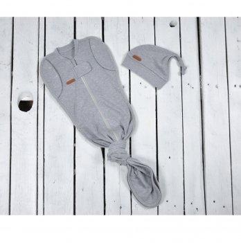 Пеленка кокон на молнии с шапочкой Magbaby Каспер Серый меланж Безразмерная