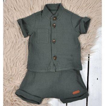 Летний костюм для мальчика из муслина Magbaby Ned Морская волна 0-3 года