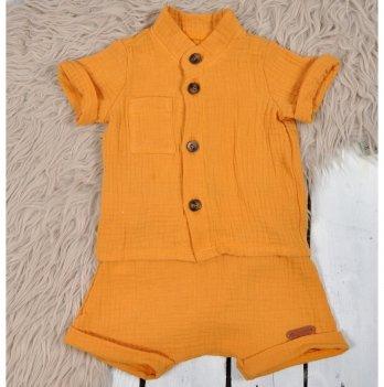 Летний костюм для мальчика из муслина Magbaby Ned Горчичный 0-3 года
