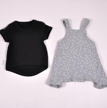 Муслиновый комбинезон с футболкой для девочки Magbaby Mag Серый/Черный 0-3 года