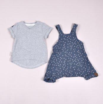 Муслиновый комбинезон с футболкой для девочки Magbaby Mag Серый/Синий 0-3 года