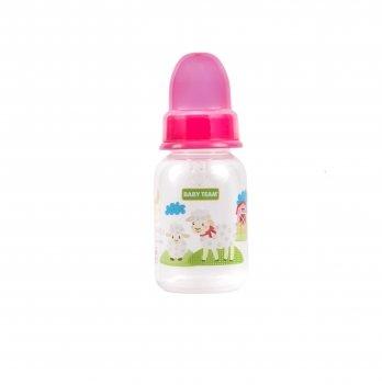 Бутылочка с силиконовой соской Baby Team 1110 розовый 125 мл