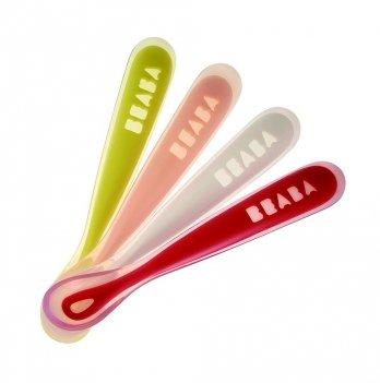 Набор из 4-х эргономичных ложек для первого этапа прикорма Beaba неон/персик/белый/красный