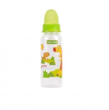 Бутылочка с силиконовой соской Baby Team 1120 зеленый 250 мл