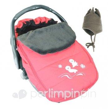 Конверт - чехол Perlimpinpin на меху для автомобильного кресла и коляски розовый
