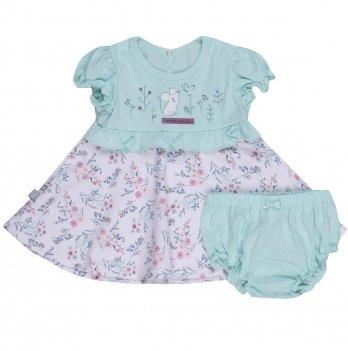 Платье для малышки и трусы Smil Прованс 113276 Ментоловый 6-18 мес