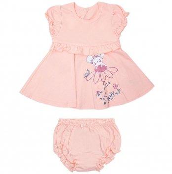 Платье для малышки и трусы Smil Прованс 113276 Персиковый 6-18 мес