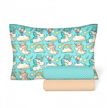 Детское постельное белье в кроватку Cosas Единорог Бежевый Бязь 3 предмета
