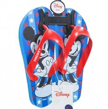 Шлепанцы-вьетнамки Disney Микки Маус (Mickey), голубые/красные