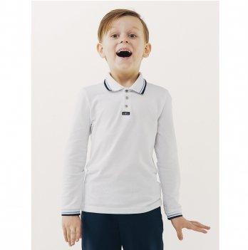 Футболка-поло для мальчика длинный рукав Smil 114656 белый