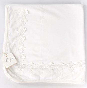 Пеленка-одеяло велюр ТМ Sasha, молочная с кружевом
