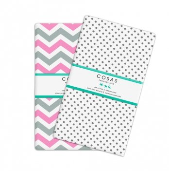 Набор простынок на резинке Cosas Zigzag Pink/Grey Drop Grey Бязь 60х120 см