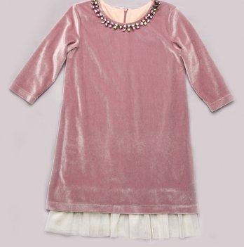Платье из бархата для девочки Модный карапуз, розовый кварц