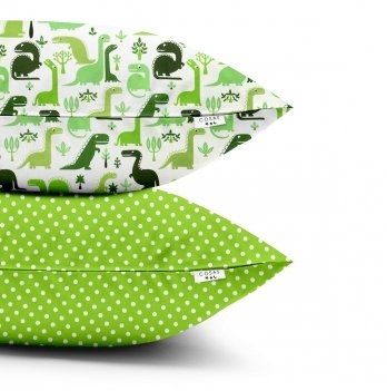Детские наволочки Cosas Dino Green Dots Green Бязь 40х60 см