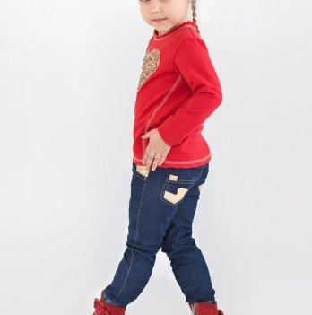 Джинсы для девочки с вставками из золотистой кожи Модный карапуз, синий 03-00548