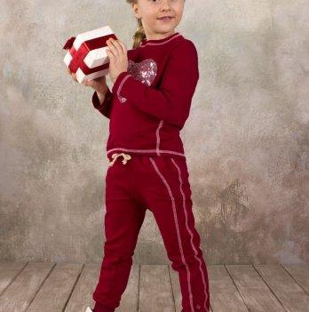 Брюки для девочки спортивные Модный карапуз, бордовый 03-00570